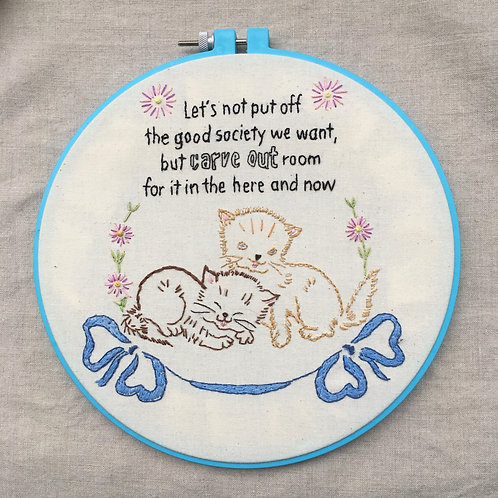 "8"" hand embroidery Good Society kittens"