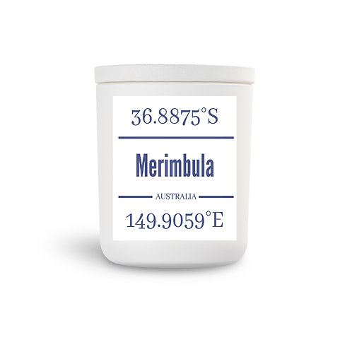 Fragrant Merimbula candle with lid can be utilised when candle is spent