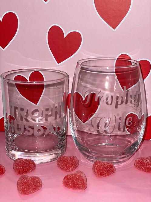 Love You, Mean It Gift Set (Trophy Wife Wine Glass + Trophy Husband Rocks Glass)