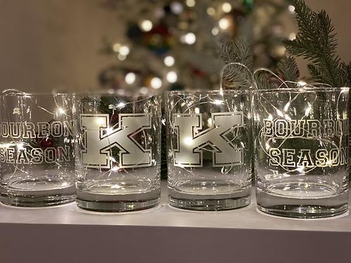 Set of Four - Power K and Bourbon Season Rocks Glasses