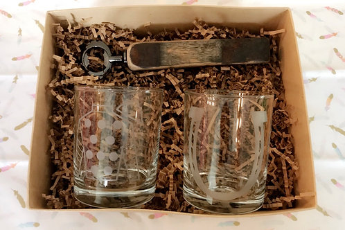 Rocks Glasses + Bourbon Barrel Bottle Opener Gift Set