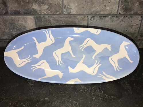 Horse Platter in Blue