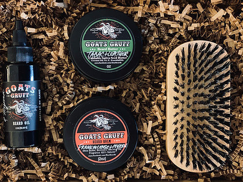 Men's Grooming Gift Set - Beard Oil, Beard Balm, Beard Butter, and Beard Brush