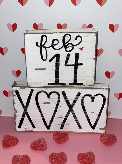 Feb 14 and XOXO Wooden Signs