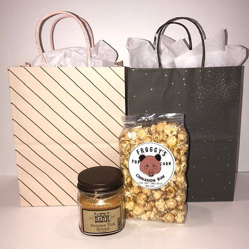 Appreciation Gifts -Banana Nut Bread Candle + Cinnamon Bun Popcorn