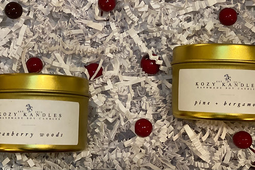 Holiday Cheer Gold Tin Candle Gift Set