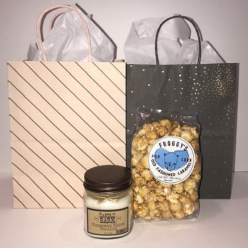 Appreciation Gifts - Cinnamon Spice Vanilla Candle + Caramel Popcorn