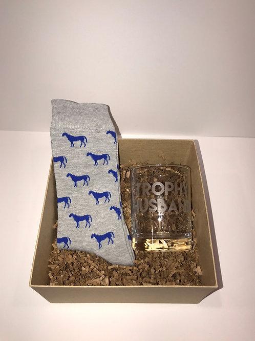 Trophy Husband + Blue Horses Grey Sock Gift Set