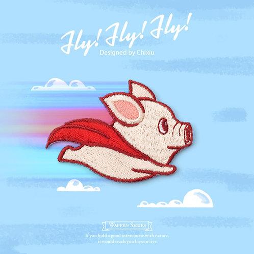 Flying Pig 飛天豬 布刺繡裝飾貼