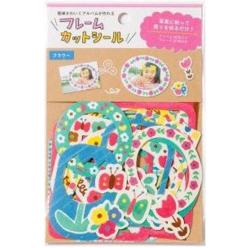 日本 Iroha Frame Die-cut Sticker 形狀相框貼 (彩色花 Flowers)