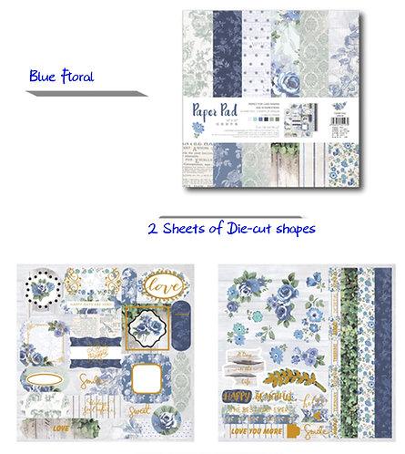 Blue Floral - Paper Pad 25.5cm  正方卡紙本