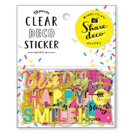 日本MINDWAVE Clear deco stickers - HappySmile 會心微笑