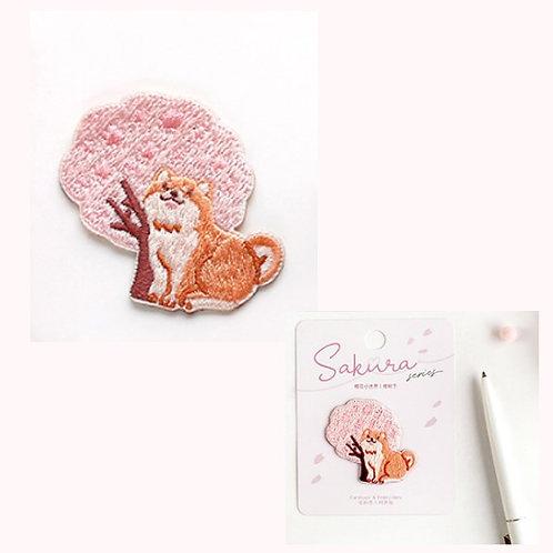 Sakura 櫻花柴柴 布刺繡裝飾貼