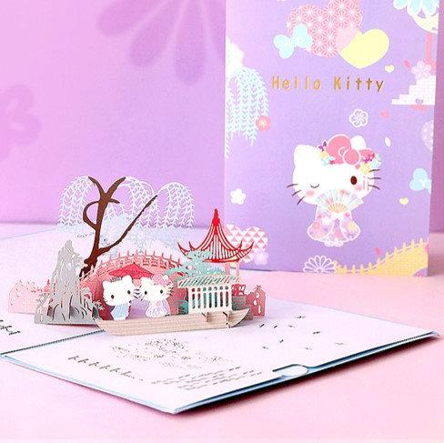 Sanrio Hello Kitty 櫻花和風 3D立體卡