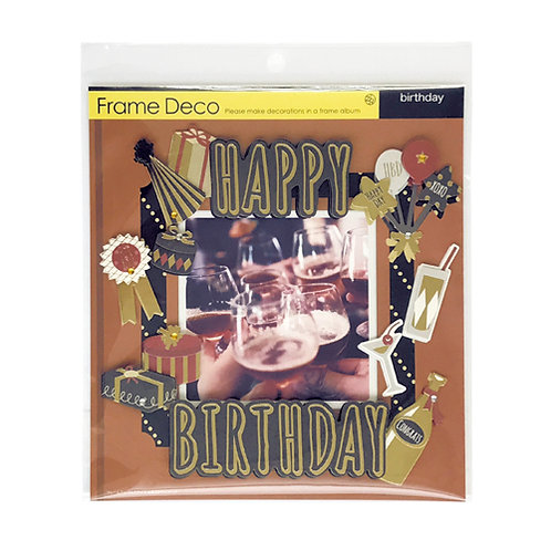 Z&K Japan - 生日主題裝飾框 Happy Birthday Deco Frame (Golden Black黑金色)