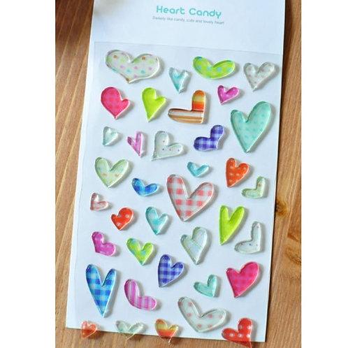 韓國 FUNNY Heart Candy 水晶貼紙