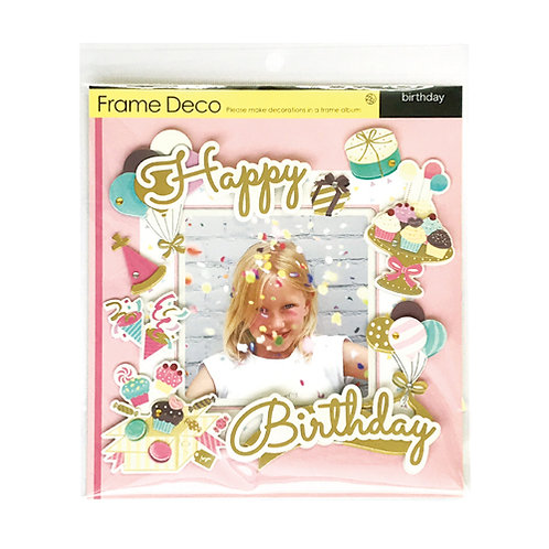 Z&K Japan - 生日主題裝飾框 Happy Birthday Deco Frame (粉紅 Pink)
