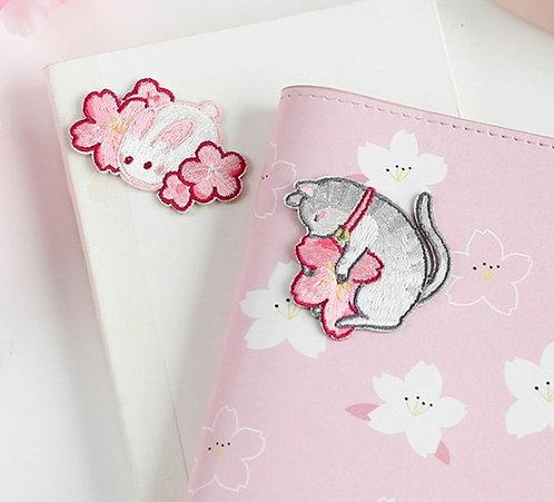 Sakura 櫻花動物 布刺繡裝飾貼