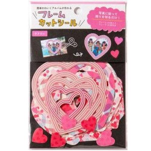 日本 Iroha Frame Die-cut Sticker 形狀相框貼 (粉紅心 Pink Heart)