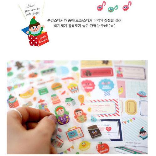 韓國Afrocat 裝飾貼紙 Yummy Friends (12張入)