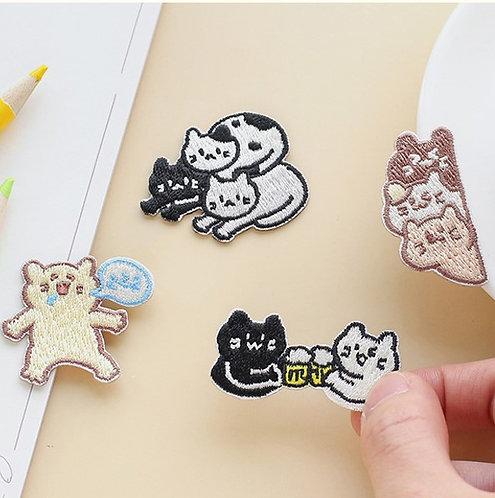 三色喵 Kitten Cheers 布刺繡裝飾貼