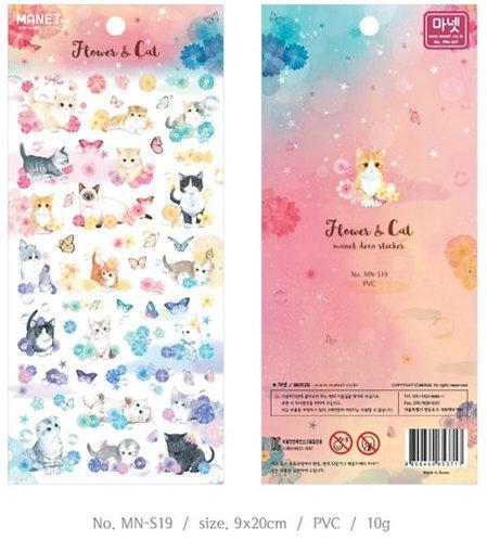 Manet - Flower & Cat 韓國 花與貓 貼纸