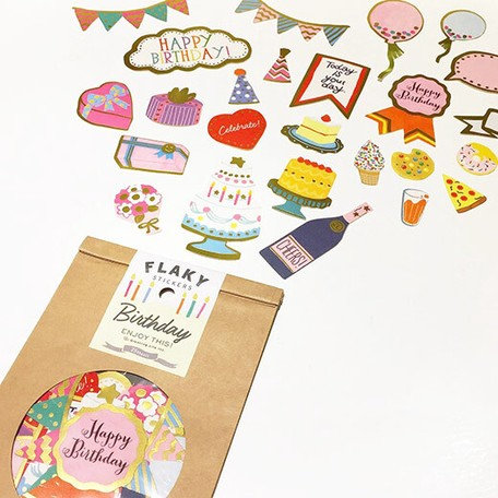 日本Greeting life Flaky stickers - Birthday 生日