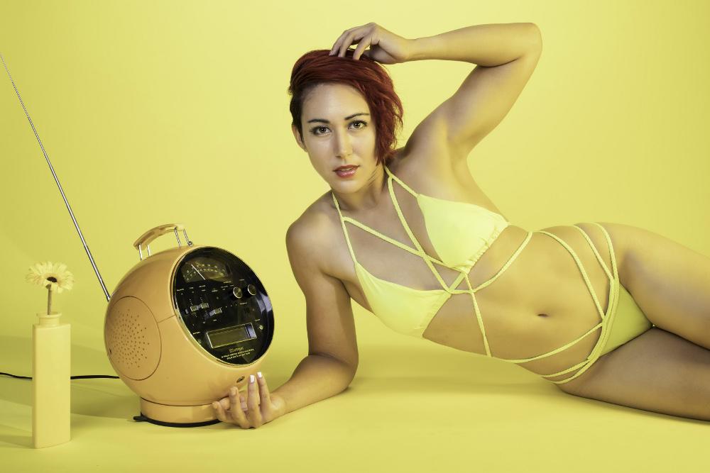 Yellow bikini retro