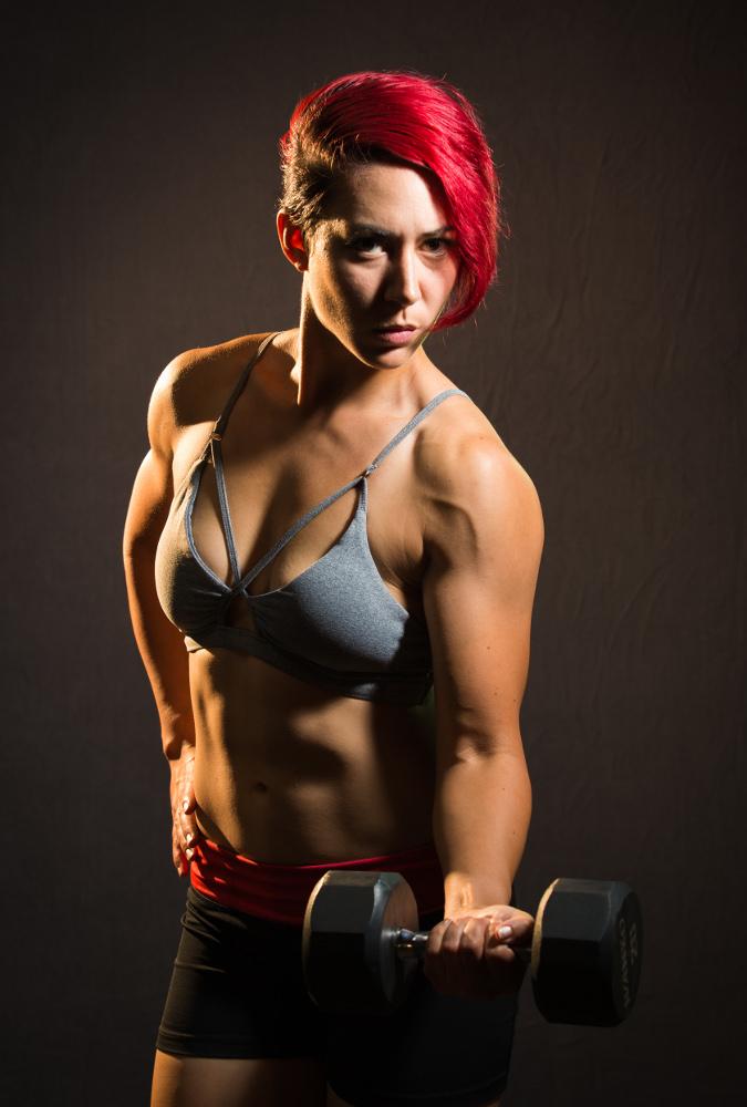 Fitness Model Dumbbell Biceps