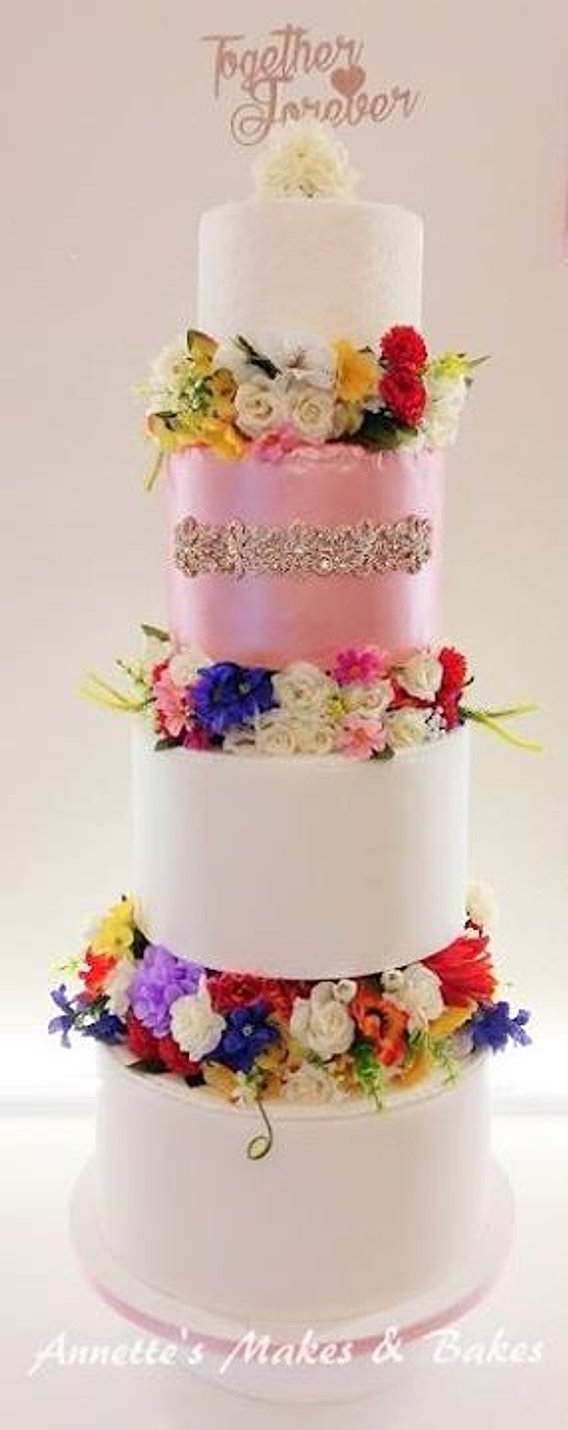 Fresh Flowers 4 Tier Wedding Cake
