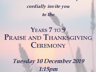 Years 7, 8 and 9 Praise and Thanksgiving