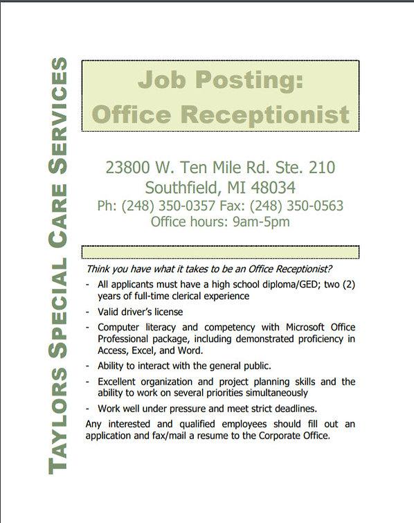 Job Opening Image Office Receptionist.jp