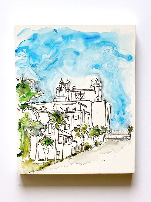 8x10 Watercolor on Wood: St. Pete Beach