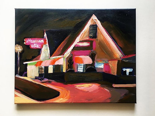 14x11 Acrylic on Canvas: Mexican Villa