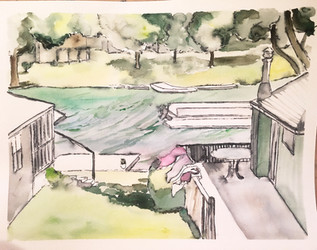 Watercolor Painting of Family Lakehouse
