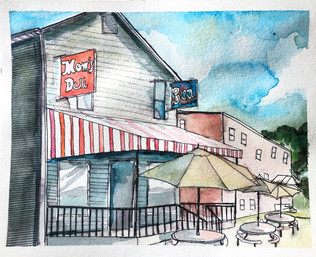Watercolor Painting of Mom's Deli