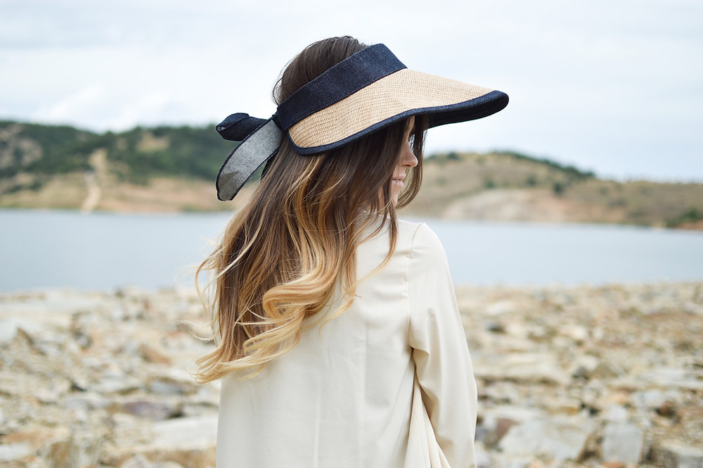 woman hat beach long hair