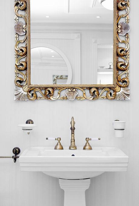 White bathroom interior close view sink,