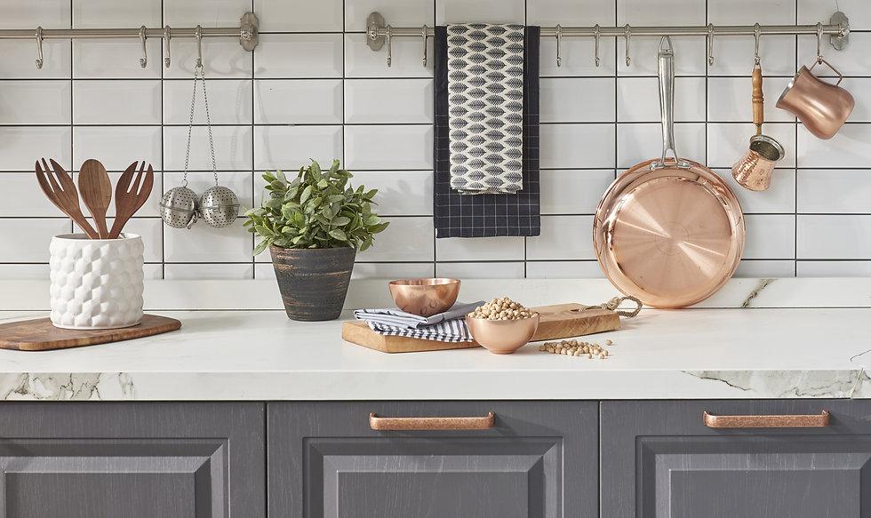 modern kitchen chopping board behind whi