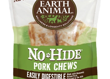 "Earth Animal No Hide Pork Chews Dog Treats, 4"", 2 Pack"