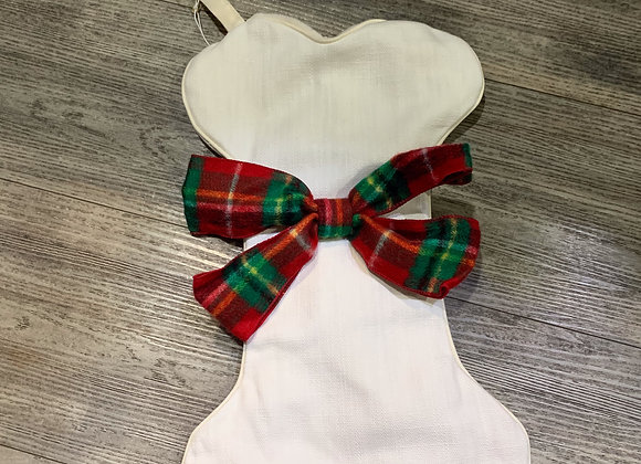 White with Ribbon Holiday Doggie Stocking