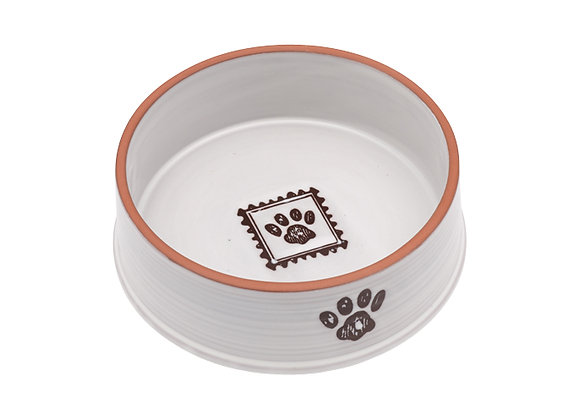 Handcrafted Ceramic Feeding Bowl for small dogs with paw print design