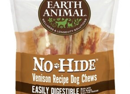 "Earth Animal No Hide Venison Chews Dog Treats, 4"", 2 Pack"