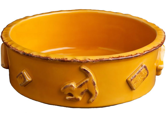 Dog Food And Water Bowl Caramel Hand decorated, durable ceramic, microwave and dishwasher safe