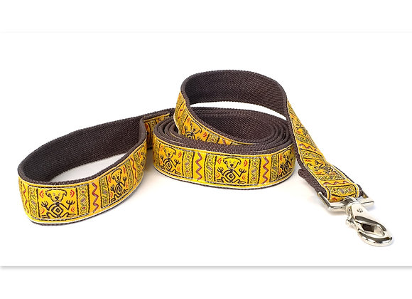 Yellow hemp leash, eco-friendly, soft touch in hand and on dog's neck, hypoallergenic
