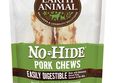 "Earth Animal No Hide Pork Chews Dog Treats, 7"", 2 Pack"