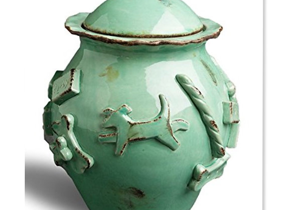 Dog Treat Jar durable ceramic, stylish, airtight lid, baby blue, aqua green, caramel
