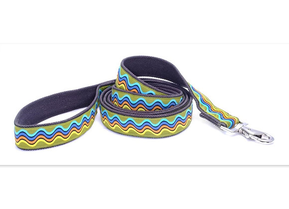 Yellow, blue, orange waves design hemp leash, eco-friendly, soft touch in hand and on dog's neck, hypoallergenic