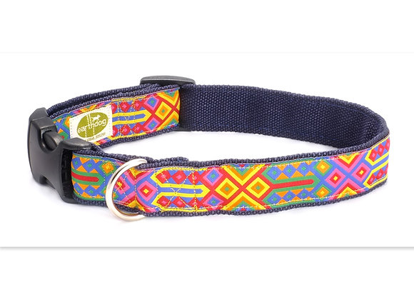 Colorful hemp adjustable dog collar, triple layer, hypoallergenic, great for all day wear