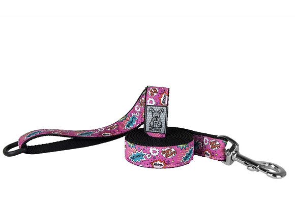Dog Leash RCPETS Pink Comic design, durable reflective material with floating accessory D-ring